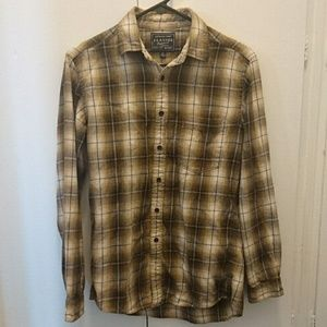 UNIQLO Brown Tan Cream Plaid Flannel Shirt Sz XS